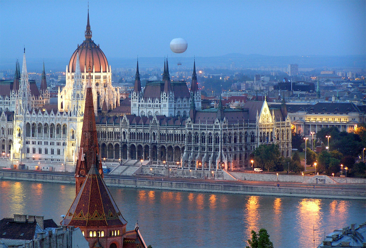 Twilight on the Hungarian Parliament in Budapest