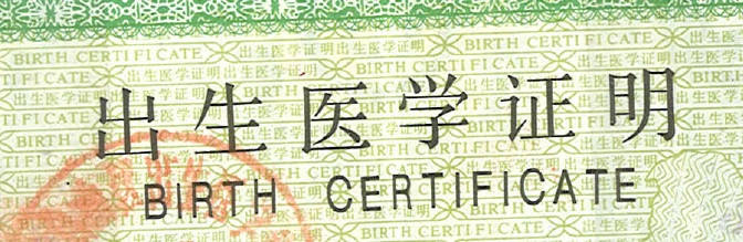 Chinese birth certificate translation