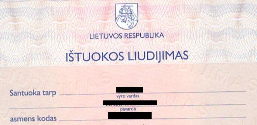 Lithuanian divorce certificate