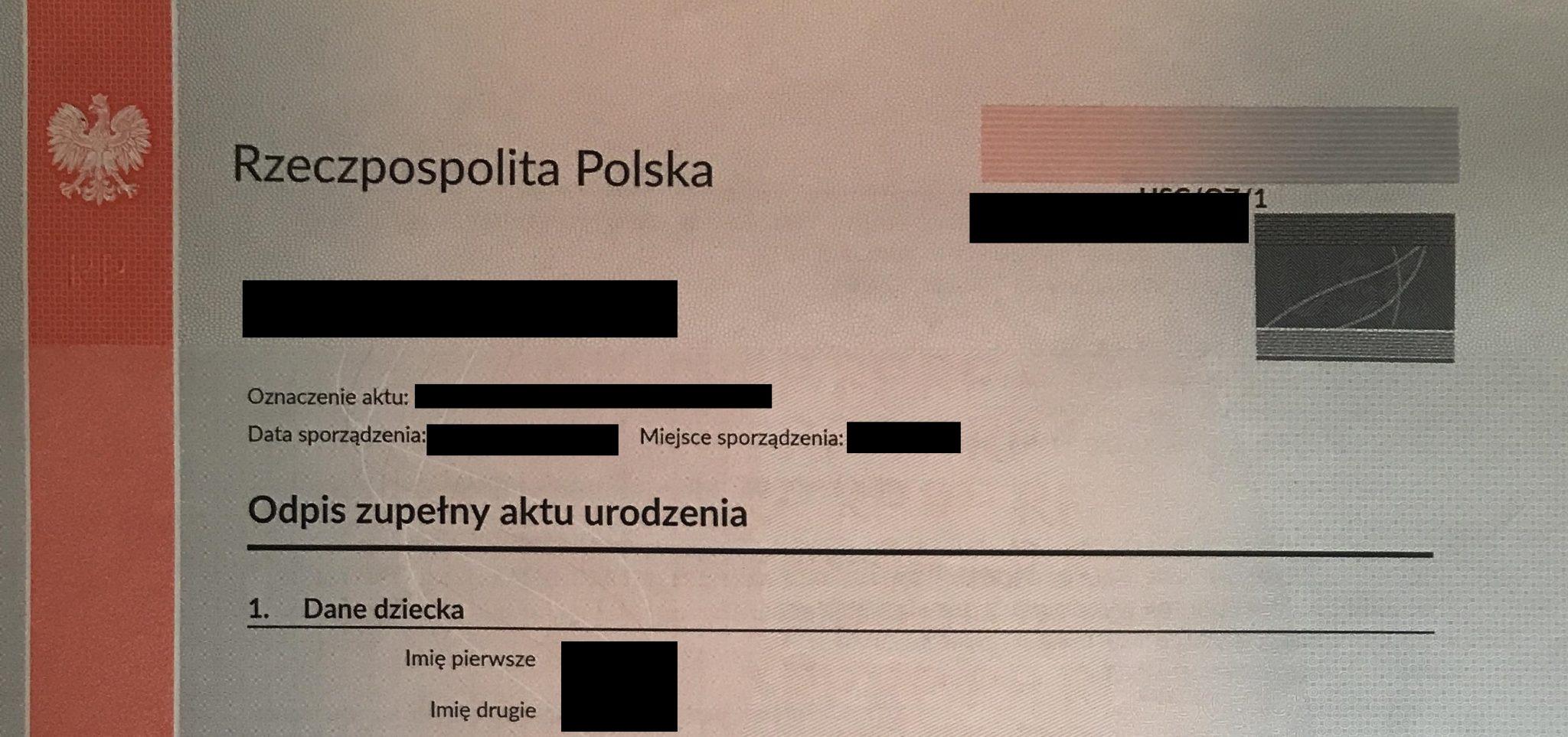 Polish Birth Certificate