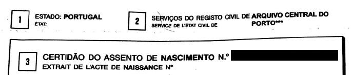 Portuguese birth certificate