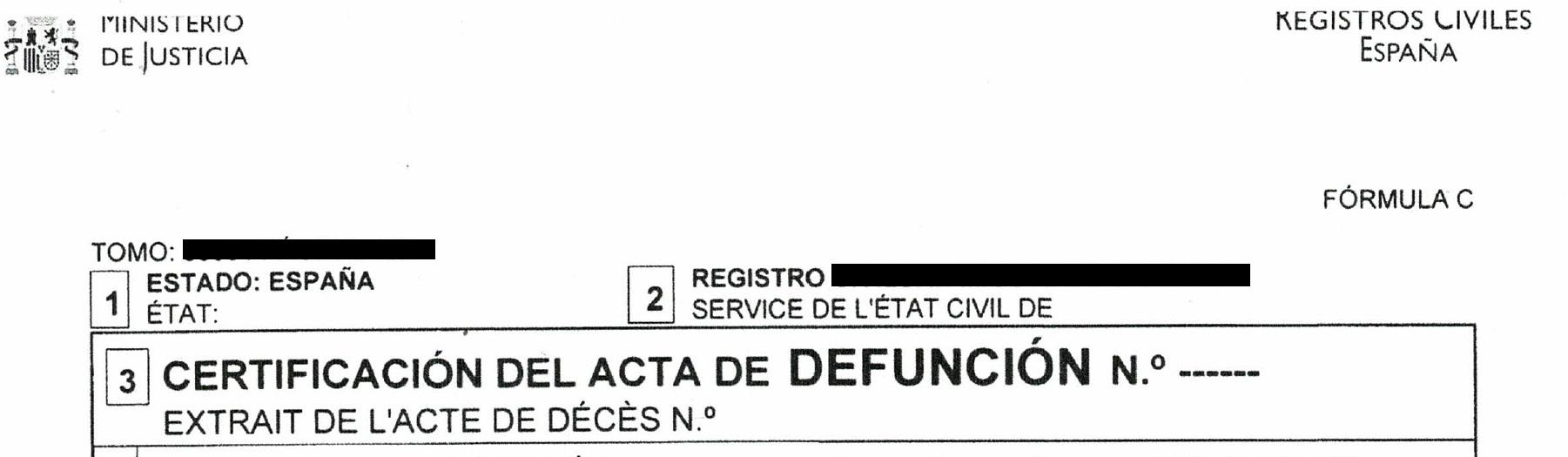 Spanish Death Certificate