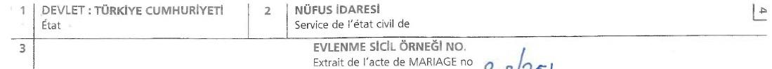 Turkish marriage certificate